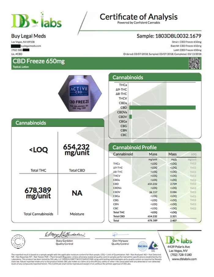 Certificate of Analysis DB Labs - CBD Freeze 650mg