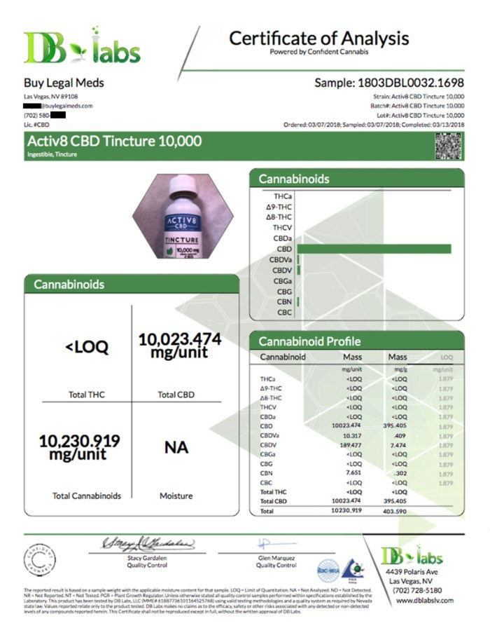 Certificate of Analysis DB Labs - ACTIV8 CBD Tincture 10,000