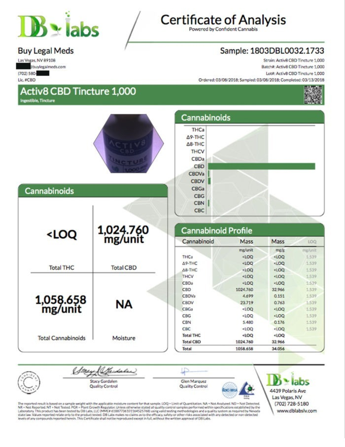 Certificate of Analysis DB Labs - ACTIV8 CBD Tincture 1,000